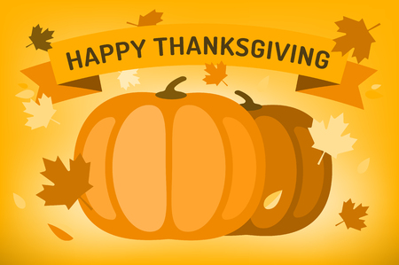 thanksgiving day greetings: Thanksgiving day illustration. Thanksgiving card. Thanksgiving  background or banner. Thanksgiving  pumpkin vector silhouette. Thanksgiving with leaves falling background. Yellow and orange colors