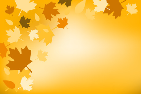 Thanksgiving day illustration. Thanksgiving card. Thanksgiving  background or banner. Thanksgiving  pumpkin vector silhouette. Thanksgiving with leaves falling background. Yellow and orange colors