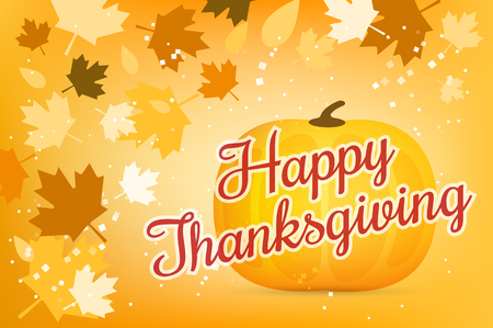 thanksgiving: Thanksgiving day illustration. Thanksgiving card. Thanksgiving  background or banner. Thanksgiving  pumpkin vector silhouette. Thanksgiving with leaves falling background. Yellow and orange colors