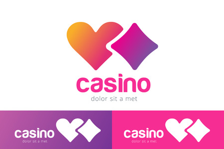 casino chips: Casino logo icon. Casino poker, cards or casino game and money. Casino vector icons. Casino games. Casino cards. Game cards. Playing casino games. Heart logo,  heart icon