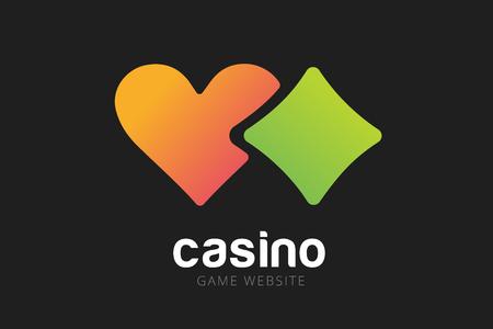 casino chip: Casino logo icon. Casino poker, cards or casino game and money. Casino vector icons. Casino games. Casino cards. Game cards. Playing casino games. Heart logo,  heart icon