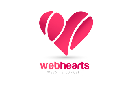 heart design: Heart icons vector logo. Heart logo, heart shape. Togetherness concept. Together logo. Heart logo. Heart icon. Love, health or doctor and relations symbol. Heart vector logo, heart together icons Illustration