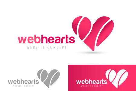 heart and wings: Heart icons vector logo. Heart logo, heart shape. Togetherness concept. Together logo. Heart logo. Heart icon. Love, health or doctor and relations symbol. Heart vector logo, heart together icons Illustration