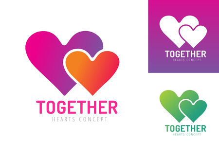 togetherness: Heart icons vector logo. Heart logo, heart shape. Togetherness concept. Together logo. Heart logo. Heart icon. Love, health or doctor and relations symbol. Heart vector logo, heart together icons Illustration
