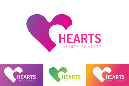Heart icons vector logo. Heart logo, heart shape. Togetherness concept. Together logo. Heart logo. Heart icon. Love, health or doctor and relations symbol. Heart vector logo, heart together icons Illustration