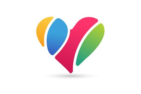 Serce ikon wektorowych logo. Serce logo, kształt serca. Cia wspólnoty. Wraz logo. Serce logo. Ikona serca. Miłość, zdrowie i stosunki lub lekarz symbol. Serce logo wektor, serca wraz ikony Ilustracja
