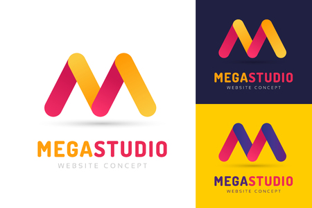 m: Abstract M letter vector logo icon template. M vector, m letter logo, web studio, design studio, round shape, logo icon, company m logo, abstract logo, design m element, creative idea. Company logo Illustration
