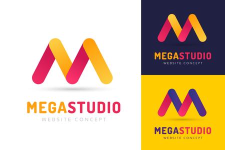 m: Abstract M letter vector logo icon template. M vector, m letter logo, web studio, design studio, round shape, logo icon, company m logo, abstract logo, design m element, creative idea. Company logo Illustration