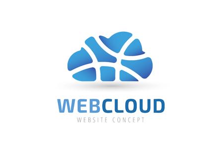 Abstract net cloud vector logo. Business cloud brand, cloud storage, files safety, sky cloud icon, clouds technology, backup, app, web design studio.Cloud network. Antivirus cloud logo.Clouds computer