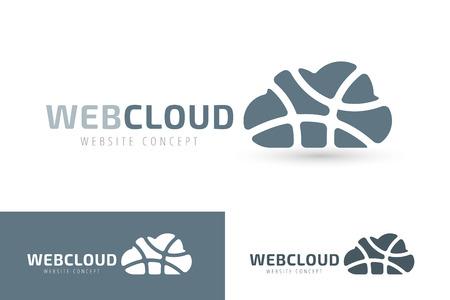 純雲のベクトルのロゴを抽象化します。ビジネス クラウド ブランド、クラウド ストレージ、ファイルの安全性、空雲のアイコン、雲技術、バック  イラスト・ベクター素材