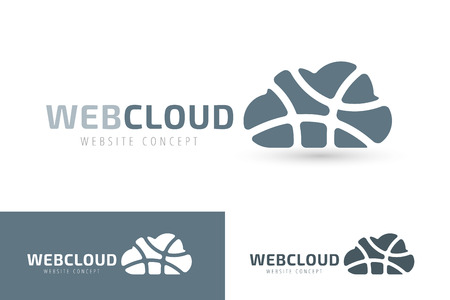 cloud computing technologies: Abstract net cloud vector logo. Business cloud brand, cloud storage, files safety, sky cloud icon, clouds technology, backup, app, web design studio.Cloud network. Antivirus cloud logo.Clouds computer