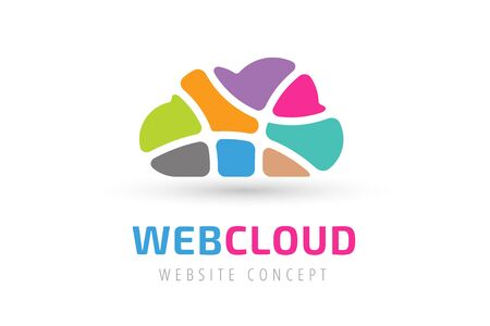 cloud: Abstract net cloud vector logo. Business cloud brand, cloud storage, files safety, sky cloud icon, clouds technology, backup, app, web design studio.Cloud network. Antivirus cloud logo.Clouds computer