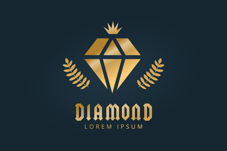 Vintage old diamond logo. Diamond icon template. Vintage retro style diamond.  Jewelry labels, ribbons, decor, ornament. Premium quality diamond vector. Diamond logo design. Retro style Illustration