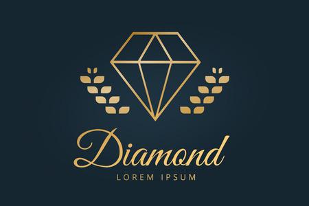 Vintage old diamond logo. Diamond icon template. Vintage retro style diamond.  Jewelry labels, ribbons, decor, ornament. Premium quality diamond vector. Diamond logo design. Retro style Illustration