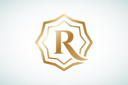 arabische letters: Royal logo vector template. Hotel logo. Kings symbool. Royal toppen monogram. Kings Top hotel. Letter R logo. Royal Hotel, Premium R merk boutique, mode-R logo, Advocaat logo. Kroon. vintage moderne stijl