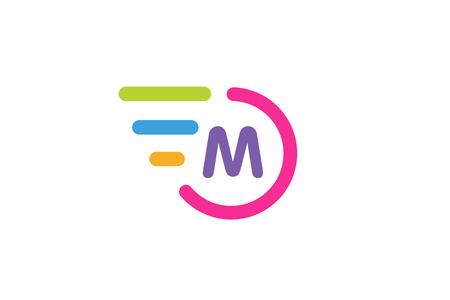 looped shape: Fast line circle logo. M rings monogram. Vector M circle. Circle O and M letter design. Abstract M letter. Round rings. Ring circle symbol. Thin line circle.  Transport car circle icon Illustration