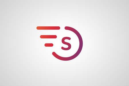 ring: Fast line S letter circle logo. S and rings monogram. Vector S circle. Circle O and S letter design. Abstract S letter. Round rings. Ring circle symbol. Thin line circle.  Transport car circle icon Illustration