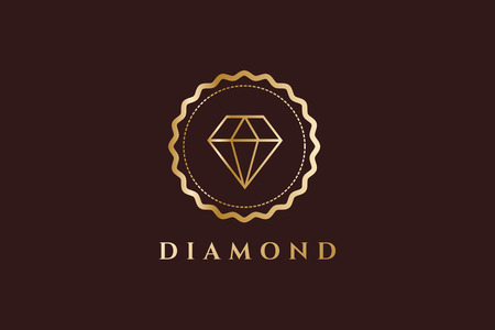 Vintage old diamond logo. Diamond icon monogram. Vintage retro style diamond.  Jewelry labels, ribbons, decor, ornament. Premium quality. Diamond logo. Retro style. Royal, crown, lawyer, hotel, brand