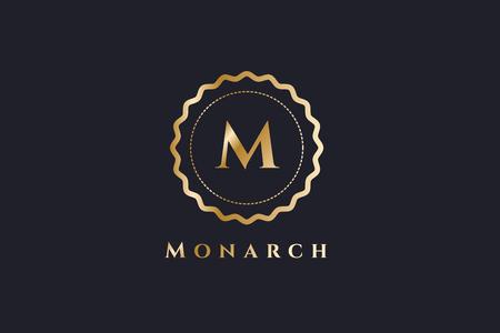ロイヤル ロゴ ベクトル テンプレート。ホテルのロゴ。王のシンボル。ロイヤルの紋章モノグラム。王トップ ホテル。文字 M のロゴ。ロイヤル ホテ  イラスト・ベクター素材