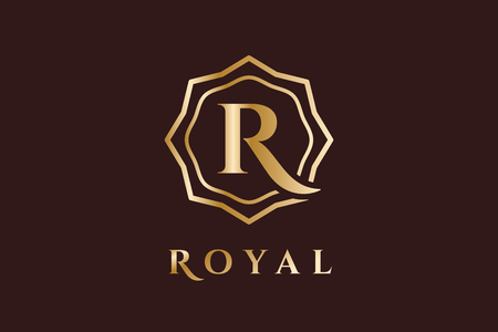 couronne royale: Mod�le Royal vecteur. H�tel . Symbole des rois. Cr�tes royales monogramme. Kings Top h�tel. Lettre R. L'h�tel Royal, R Premium marque boutique, Mode R, avocat. Style moderne Vintage