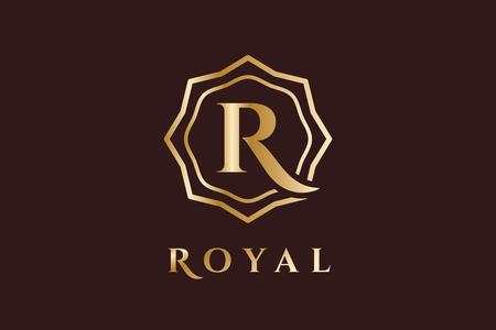 Royal  vector template. Hotel . Kings symbol. Royal crests monogram. Kings Top hotel. Letter R . Royal hotel, Premium R brand boutique, Fashion R , Lawyer . Vintage modern style Illustration