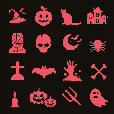 helloween: Halloween vector icons set. Pumpkin head, witch broom, candy and halloween hat. Black halloween icons set, halloween silhouette for helloween party design. Helloween night, ghost, black cat, zombie Illustration