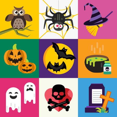 witch on broom: Halloween vector icons set. Pumpkin head, witch broom, candy and halloween hat. Black halloween icons set, halloween silhouette for helloween party design. Helloween night, ghost, black cat, zombie Illustration