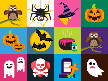 witch on broom: Halloween vector icons set. Pumpkin head, witch broom, candy and halloween hat. Black halloween icons set, halloween silhouette for halloween party design. Halloween night, ghost, black cat, zombie
