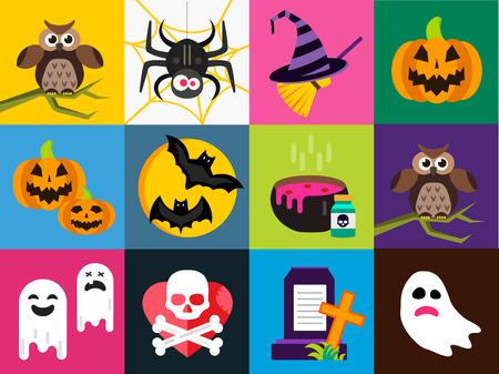 citrouille halloween: Ic�nes vectorielles Halloween fix�s. T�te de citrouille, sorci�re balai, bonbons et chapeau Halloween. Noir de Halloween ic�nes ensemble, silhouette Halloween pour la conception de f�te d'Halloween. Soir de l'Halloween, fant�me, chat noir, zombie