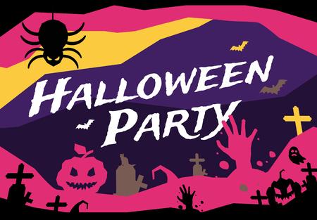 party design: Halloween vector background. Pumpkin head, zoombie hand, halloween symbols. Black and red halloween colors, halloween silhouette for halloween party flyer design. Halloween night background, ghost, black cat, zombie