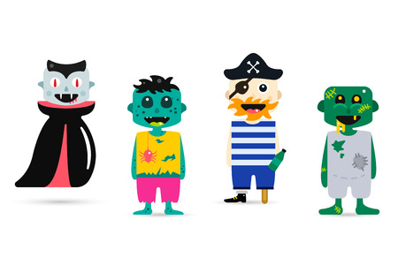 cartoon human: Set of halloween costume characters, vector halloween mascots. Halloween kids costume, vampire, zombie, pirate cartoon characters. Halloween characters isolated on background. Cute flat simple style