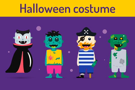 kids costume: Set of halloween costume characters, vector halloween mascots. Halloween kids costume, vampire, zombie, pirate cartoon characters. Halloween characters isolated on background. Cute flat simple style