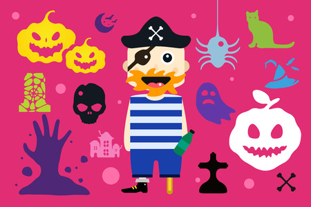 kids costume: Set of halloween costume characters, vector halloween mascots. Halloween kids costume. Pumpkin, bat, party,  pirate, characters. Halloween characters isolated on background. Cute flat simple style Illustration
