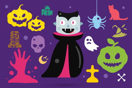 Set of halloween costume characters, vector halloween mascots. Halloween kids costume. Pumpkin, bat, party,  zombie, vampire, acters. Halloween characters isolated on background. Cute flat simple style Illustration