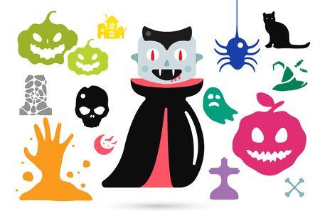 calavera caricatura: Conjunto de caracteres del traje de halloween, de halloween vector mascotas. Disfraz de Halloween los ni�os. Calabaza, palo, partido, zombi, vampiro, caracte-. Personajes de Halloween aislado en el fondo. Estilo simple plana linda
