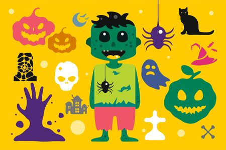 kids costume: Set of halloween costume characters, vector halloween mascots. Halloween kids costume. Pumpkin, bat, party,  zombie, vampire, acters. Halloween characters isolated on background. Cute flat simple style Illustration