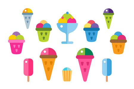 fruit candy: Ice cream vector icons set. Icecream isolated vectors. Candy ice cream. Tasty frozen, cartoon vector, set. Ping, red, blue, green, red ice cream. Ice cream scoops icons. Ice cream shop