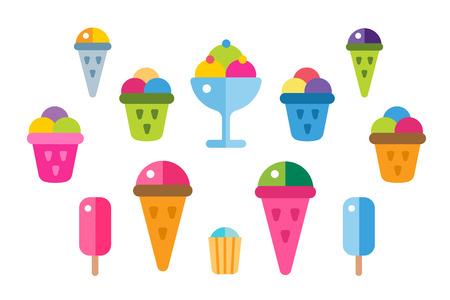 icecream sundae: Ice cream vector icons set. Icecream isolated vectors. Candy ice cream. Tasty frozen, cartoon vector, set. Ping, red, blue, green, red ice cream. Ice cream scoops icons. Ice cream shop