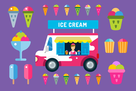ice cream sundae: Ice cream vector truck van and ice cream icons set. Icecream isolated vectors. Candy ice cream. Tasty frozen, cartoon vector, set. Ping, red, blue, green, red ice cream. Ice cream scoops icons. Ice cream shop