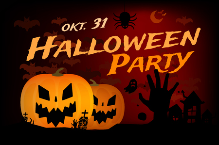 Halloween party vector background. Pumpkin head, zoombie hand, halloween symbols. Black and red halloween colors, halloween silhouette for halloween party flyer invite card design. Halloween night background, ghost, black cat, zombie