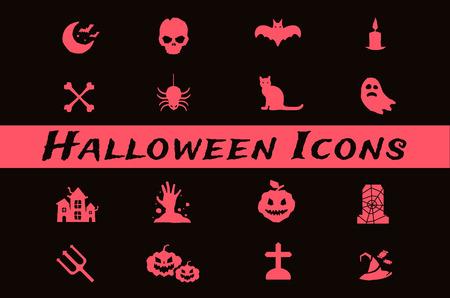 Halloween vector icons set. Pumpkin head, witch broom, candy and halloween hat. Black halloween icons set, halloween silhouette for halloween party design. Halloween night, ghost, black cat, zombie