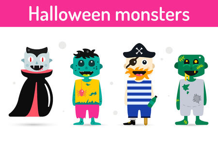 face zombie: Monster cartoon characters isolated silhouette. Cartoon monsters, zombie flat. Halloween costume characters, halloween mascots. Monster kids costume, vampire, zombie, pirate cartoon characters.