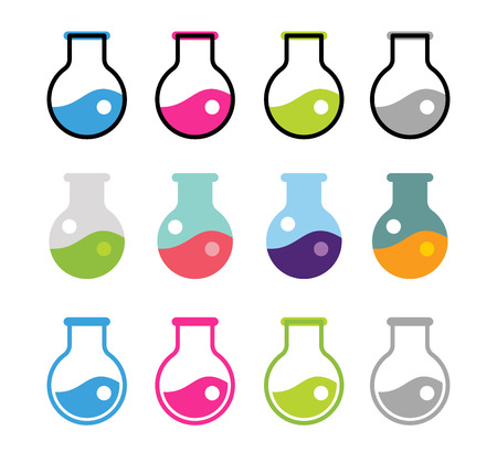 Laboratory equipment vector icons set. Lab icons isolated on white. Chemicals, lab icons, laboratory equipment, science icons, laboratory research, laboratory glassware, laboratory testing. Laboratory glassware, laboratory testing glass. Medical icons Illusztráció