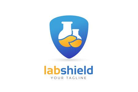 研究室の機器のベクトルのロゴ。ラボ アイコンのロゴが白で隔離。化学物質、ラボのロゴ、実験装置、ロゴのアイコンを科学、テクノロジーのロゴ