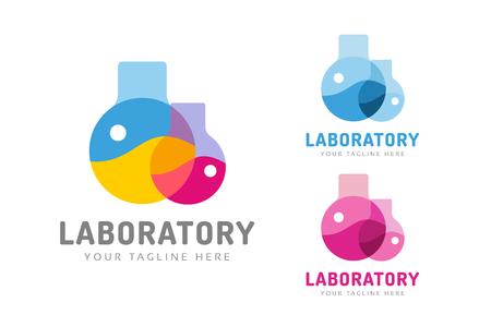 laboratorio: Equipo de laboratorio vector logo. Lab icono del logotipo aislado en blanco. Productos qu�micos, logotipo de laboratorio, equipo de laboratorio, la ciencia logo icono, logotipo de la tecnolog�a, logotipo de la ciencia. logotipo de vidrio de laboratorio. Logo vidrio Testing Vectores