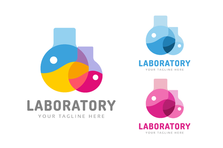 drug discovery: Laboratory equipment vector logo. Lab icon logo isolated on white. Chemicals, lab logo, laboratory equipment, science logo icon, technology logo, science logo. laboratory glassware logo. Testing glass logo Illustration