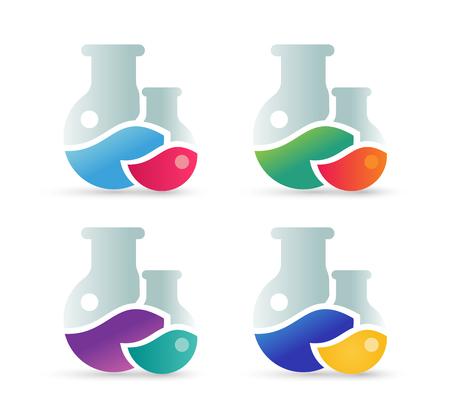Laboratory equipment vector icons set. Lab icons isolated on white. Chemicals, lab icons, laboratory equipment, science icons, laboratory research, laboratory glassware, laboratory testing. Laboratory glassware, laboratory testing glass Illustration