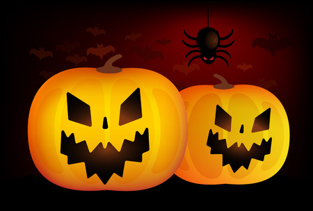 pumpkin head: Two vector helloween pumpkins head isolated on blackbackground. Halloween party vector pumpkin. Pumpkin head, halloween symbols. Halloween pumpkin silhouette for halloween design. Halloween background, pumpkin head