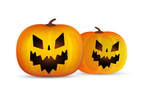 pumpkin head: Two vector helloween pumpkins head isolated on white background. Halloween party vector pumpkin. Pumpkin head, halloween symbols. Halloween pumpkin silhouette for halloween design. Halloween background, pumpkin head
