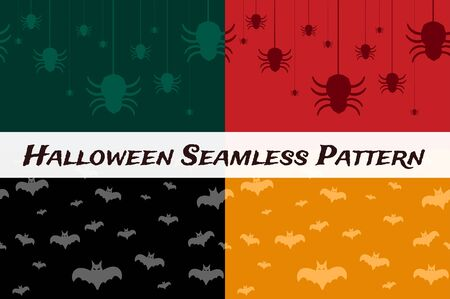 halloween spider: Halloween vector background seamless pattern. Bat fly, halloween symbols. Halloween silhouette for halloween party design. Halloween seamless background, bat, spider icons vector Illustration